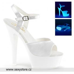 Bílé svítící sexy boty KISS-209UV/WSA/NW