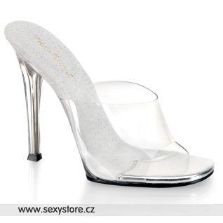 Průhledné pantofle na podpatku vhodné na fitness soutěže GALA-01/C/M
