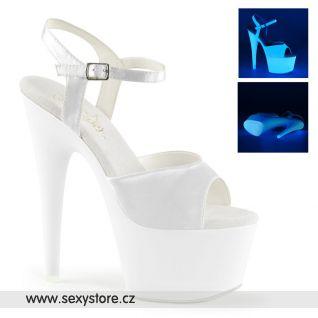 Bílé svítivé sexy boty ADORE-709UV/WSA/NW