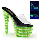 BEJEWELED-701UV/C/NMCGN svítící sexy zelené pantofle