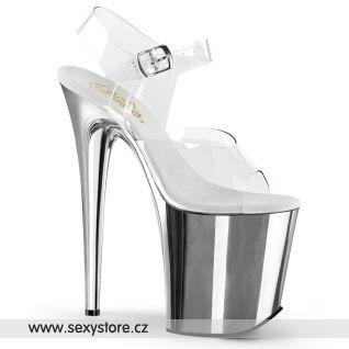 FLAMINGO-808/C/SCH Stříbrné sandály na extra vysokém podpatku