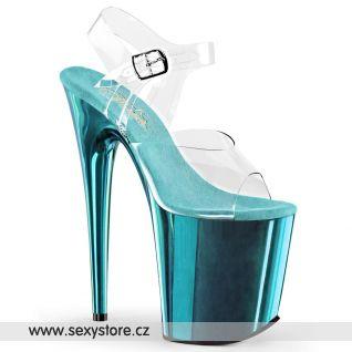 FLAMINGO-808/C/TECH Tyrkysové sandály na extra vysokém podpatku
