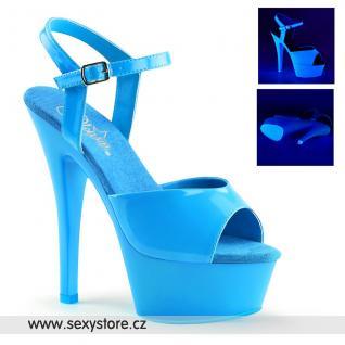 KISS209UV/NBL/M modré svítící sexy boty na vysokém podpatku
