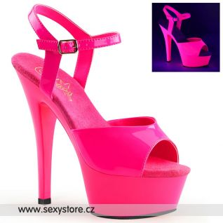 KISS209UV/NHPNK/M růžové svítící sexy boty na vysokém podpatku a platformě
