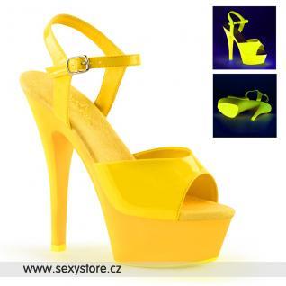 KISS209UV/NYL/M žluté svítící sexy boty