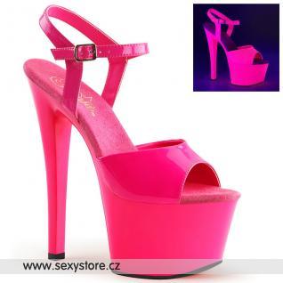 SKY309UV/NHPNK/M růžové svítící sexy boty na vysokém podpatku