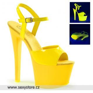 SKY309UV/NHPNK/M žluté svítící sexy boty na vysokém podpatku a platformě