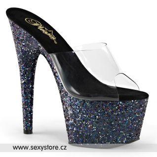 Luxusní černé pantofle ADORE-701LG/C/BLG