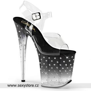 STARDUST-808T/C/B-C Sexy černé boty na extra vysokém podpatku