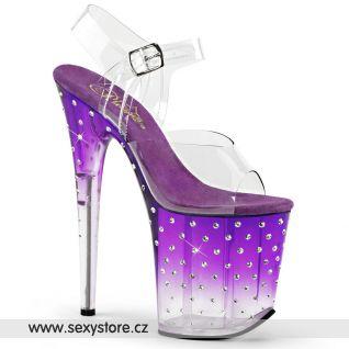 STARDUST-808T/C/PP-C Sexy fialové boty na extra vysokém podpatku