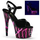 ADORE-709NLB/B/B-NHP sexy boty s růžovými blesky