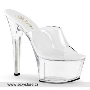 ASPIRE-601/C/M průhledné pantofle na vysokém podpatku
