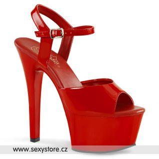 ASPIRE-609/R/M červené sandály na vysokém podpatku