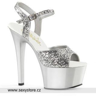 ASPIRE-609G/S/M stříbrné sandály na vysokém podpatku