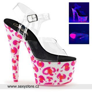 Luxusní růžové svítící sexy boty BEJ708UVLP/C/NWHP