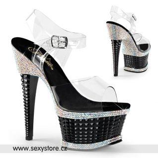 Černé sexy boty na podpatku a platformě ILLUSION-658RS ILLU658RS/C/B