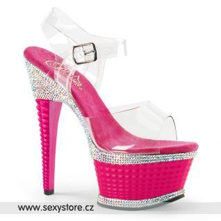 Růžové sexy boty na podpatku a platformě ILLUSION-658RS ILLU658RS/C/HP