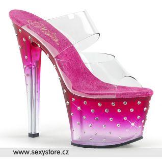 STDUS702T/C/HP-C růžové sexy pantofle na vysokém podpatku