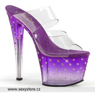 Sexy fialové pantofle na vysokém podpatku STARDUST-702T STDUS702T/C/PP-C