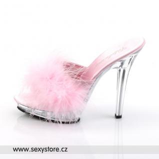 Sexy pantofle LIP-101-8/BP/C růžové průhledné
