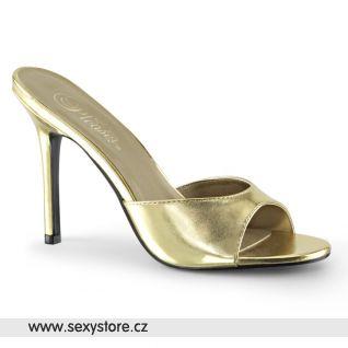 CLASSIQUE-01 CLAS01/GMPU zlaté pantofle na hubeném jehlovém podpatku
