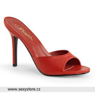 Červené pantofle CLASSIQUE-01 CLAS01/RPU na vysokém jehlovém podpatku