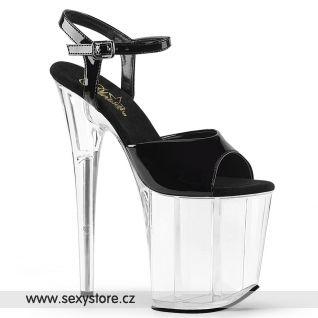 FLAMINGO-809/B/C Sexy černo průhledné boty na extra vysokém podpatku