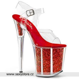 Sexy červené sandály na extrémním podpatku FLAM808G/C/R