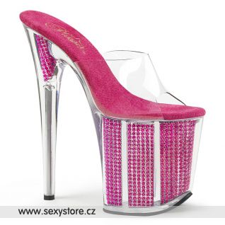 Růžové pantofle na extrémně vysokém podpatku FLAMINGO-801SRS/C/FS