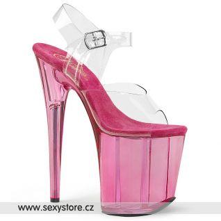 Taneční růžové sexy boty na extrémním podpatku FLAM808T/C/PN
