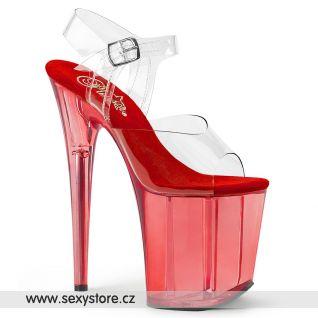 Taneční červené sexy boty na extrémním podpatku FLAM808T/C/R
