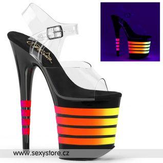 Sexy boty na extrémním podpatku se svítícími pruhy FLAMINGO-808UVLN FLAM808UVLN/C/B-UVLN