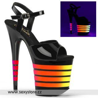 Černé sexy sandály se svítícími pruhy FLAMINGO-809UVLN/B/B-UVLN
