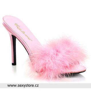 Růžové pantofle s chmýřím CLASSIQUE-01F CLAS01F/BPPU-F
