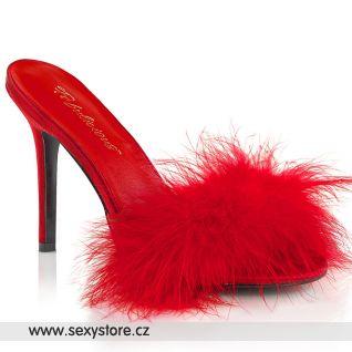 Červené pantofle s chmýřím CLAS01F/RPU-F