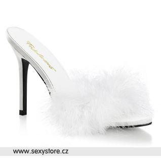 Bílé pantofle s chmýřím  CLAS01F/WPU-F