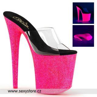 Pantofle s extra vysokým růžovým svítícím podpatkem a platformou FLAM801UVG/C/NHP