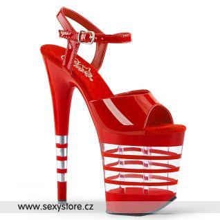 Červené sexy sandály s průhlednými pruhy FLAMINGO-809LN/R/M
