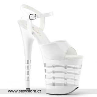 Bílé sexy sandály s průhlednými pruhy FLAM809LN/W/M