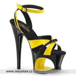 MOON728/YL-B/B sexy žlutočerné strip boty