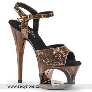 Bronzové sandály na vysokém podpatku MOON710GT/BZG/M