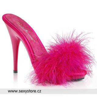 Růžové svůdné pantoflíčky s chmýřím POISE501F/HPSA/M