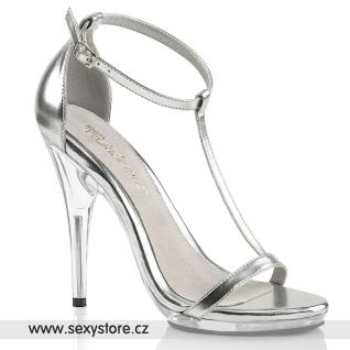 Stříbrné sandály na vysokém podpatku POISE526/SMPU/C