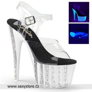 Průhledné luxusní sexy boty na vysokém podpatku a platformě ADORE-708VLRS ADO708VLRS/C/NW