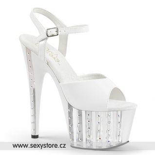Bílé luxusní sexy boty na vysokém podpatku a platformě ADORE-709VLRS ADO709VLRS/W/M