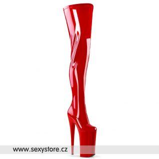 Červené kozačky s extrémním podpatkem BEYOND-4000 BEY4000/R/M