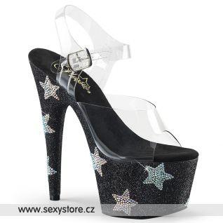 ADORE-708STAR Luxusní černé sexy boty s hvězdami ADO708STAR/C/BG-ABRS