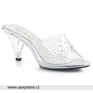 Průhledné pantoflíčky na středně vysokém podpatku BELLE-301SD BEL301SD/C/M