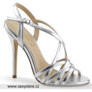Stříbrné páskové sandály AMUSE-13 AMU13/SMPU