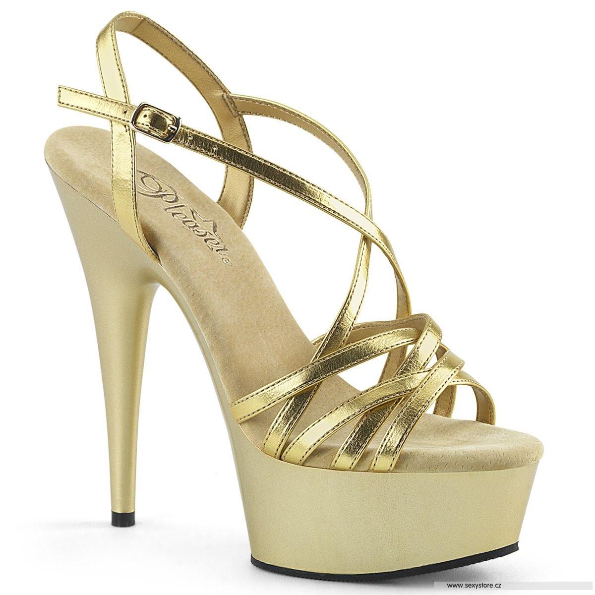 Zlaté páskové boty na podpatku a platformě DEL613 R M  9dd71d7cb5